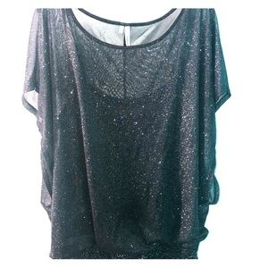 Maurice's Studio Y sheer sparkly blouse